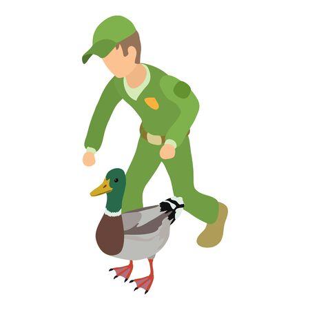 Bird care icon, isometric style