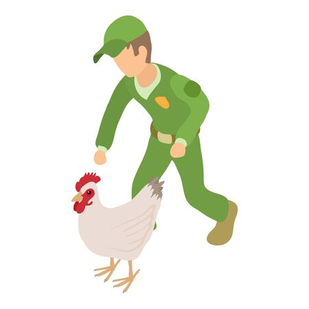 Catching chicken icon, isometric style