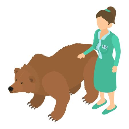 Animal health icon, isometric style Illustration