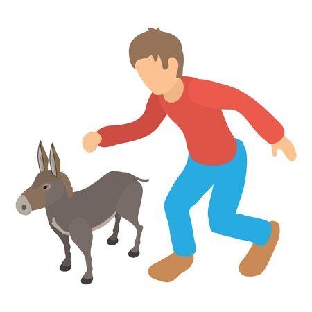 Donkey breeding icon, isometric style Vectores