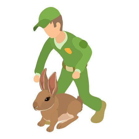 Animals welfare icon, isometric style