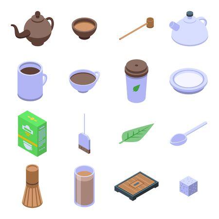 Conjunto de iconos de ceremonia del té, estilo isométrico