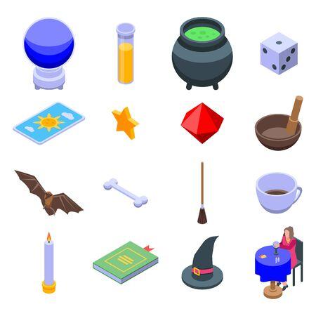 Ensemble d'icônes de diseuse de bonne aventure. Ensemble isométrique d'icônes vectorielles de fortune teller pour la conception web isolé sur fond blanc