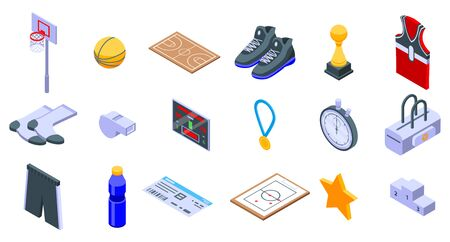Basketball equipment icons set, isometric style