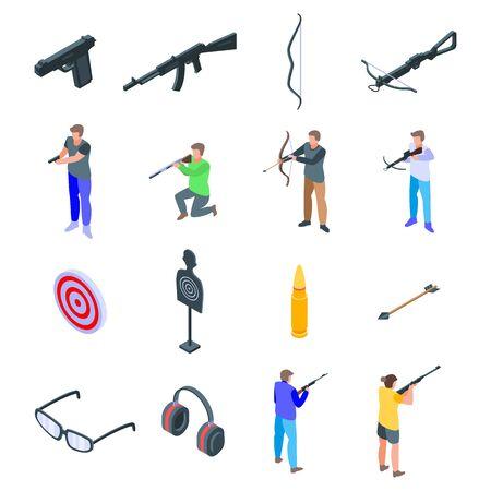 Shooting sport icons set, isometric style