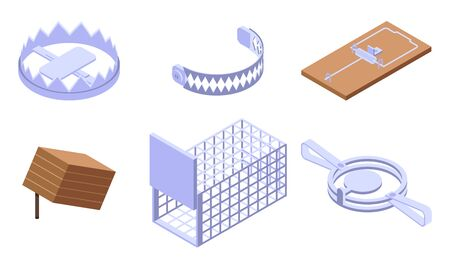 Trap icons set. Isometric set of trap vector icons for web design isolated on white background