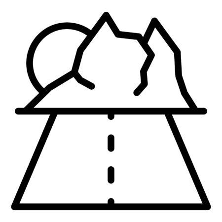 Travel road to mountains icon, outline style Ilustração