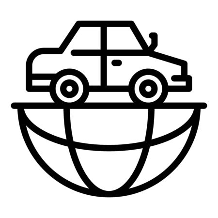 Global car travel icon, outline style