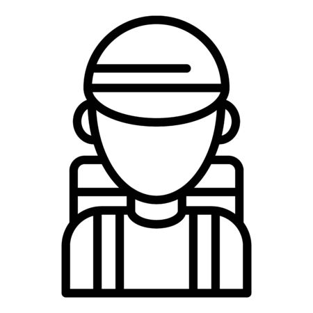 Hiking boy icon, outline style