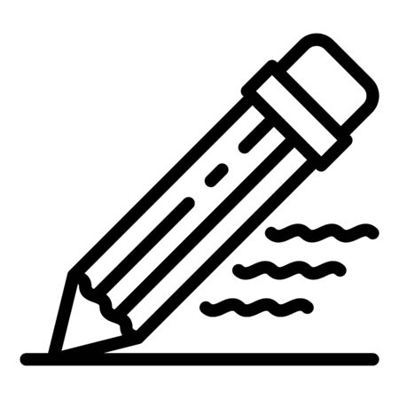 Writing pencil icon, outline style 矢量图像