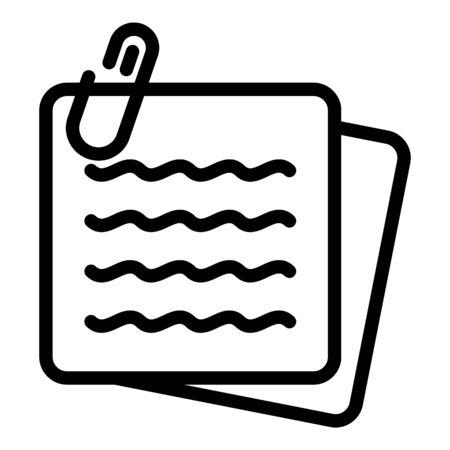 Note paper stick icon, outline style Çizim