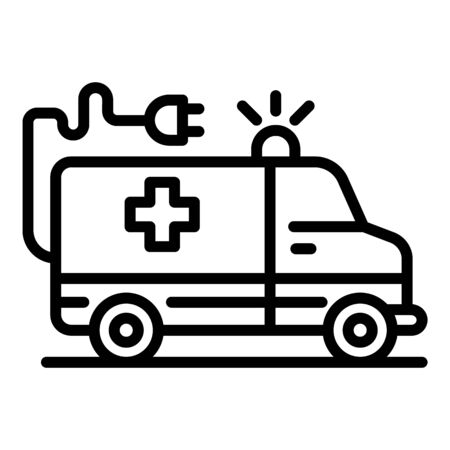 Electric ambulance car icon, outline style Ilustrace