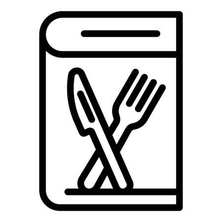 Cooking book icon, outline style Illustration