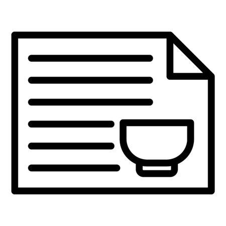 Restaurant menu icon, outline style Illustration