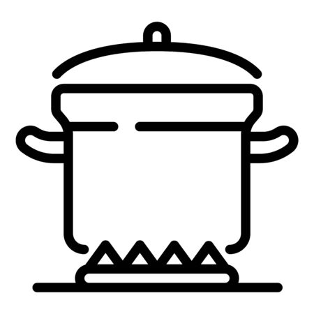 Cooking burning pot icon, outline style