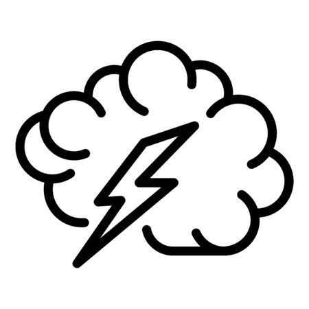 Bolt brain icon, outline style Illustration