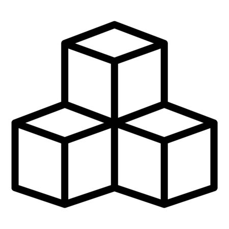 Sugar cubes icon, outline style