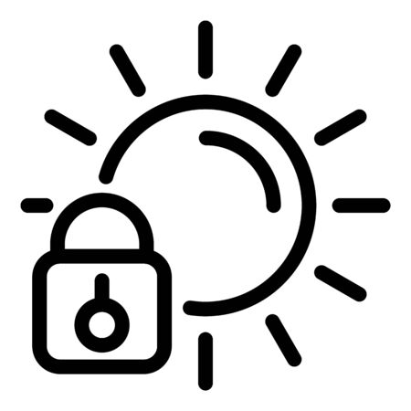 Sunscreen padlock icon. Outline sunscreen padlock vector icon for web design isolated on white background Archivio Fotografico - 137255852