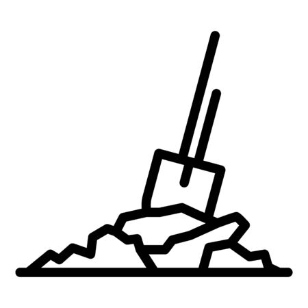 Shovel in ground icon, outline style