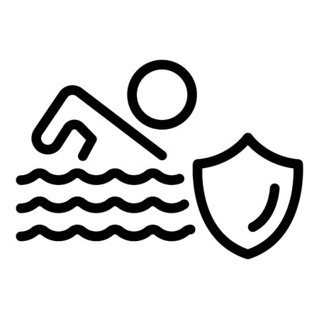 Swim insurance icon. Outline swim insurance vector icon for web design isolated on white background