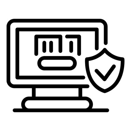 Computer insurance icon. Outline computer insurance vector icon for web design isolated on white background Illustration