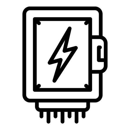 Icono de caja de alto voltaje. Esquema de caja de alta tensión icono vectoriales para diseño web aislado sobre fondo blanco. Ilustración de vector
