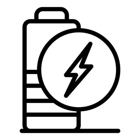 Low charge battery icon. Outline low charge battery vector icon for web design isolated on white background