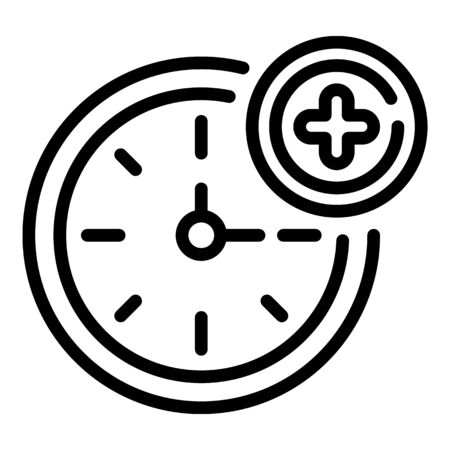 Medical clock icon, outline style