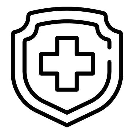 Medical shield icon, outline style Illustration