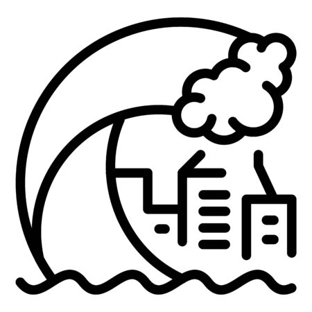 Tsunami wave city icon, outline style
