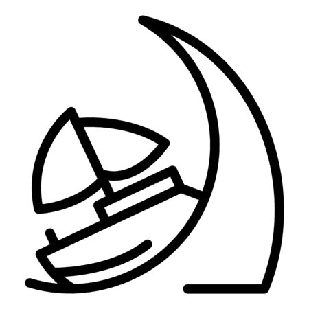 Ship on tsunami wave icon, outline style
