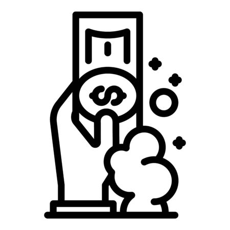 Hand wash money icon, outline style