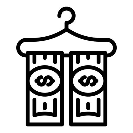 Money on hanger icon, outline style Illustration