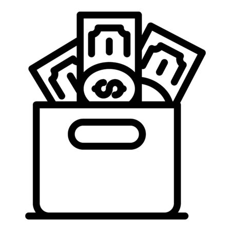 Money laundering box icon, outline style Vettoriali