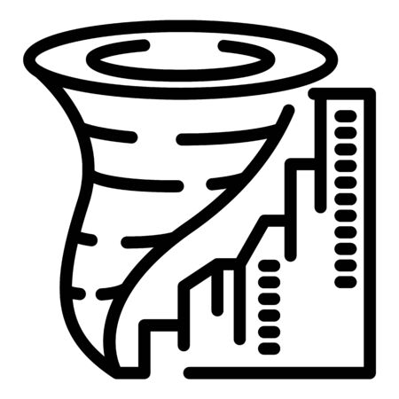 City tornado icon, outline style