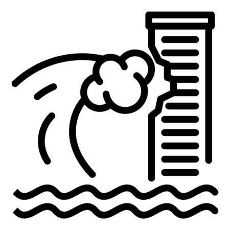 Tsunami wave on skyscraper icon, outline style
