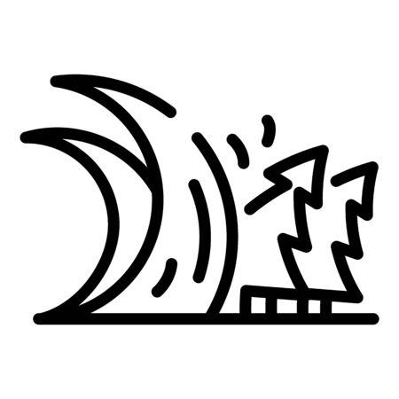 Alarm tsunami wave icon, outline style Stok Fotoğraf - 137415265