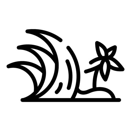 Palm tree tsunami icon, outline style Illustration