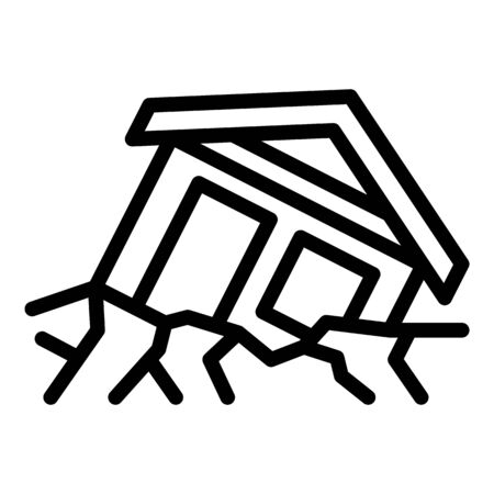 Warning landslide house icon, outline style Ilustracja