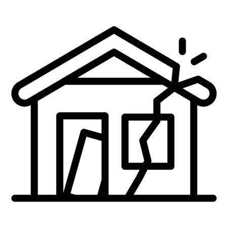 Destroyed house icon, outline style