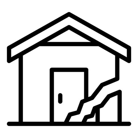 Cracked house icon, outline style