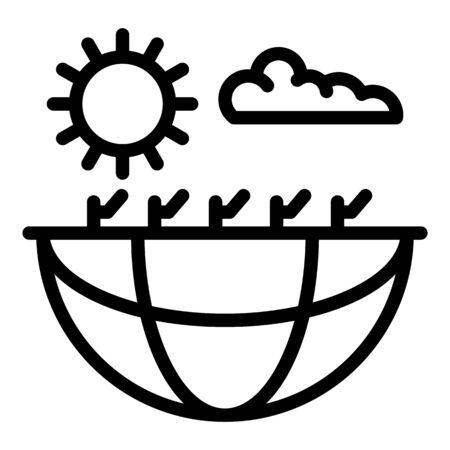 Global hot desert icon, outline style