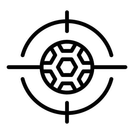 Target soccer ball icon, outline style