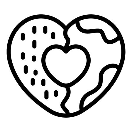Heart cookie icon. Outline heart cookie vector icon for web design isolated on white background