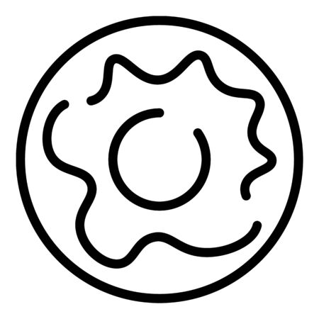 Creamy donut icon, outline style