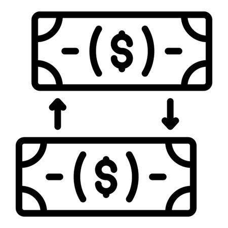 Exchange cash icon, outline style Çizim