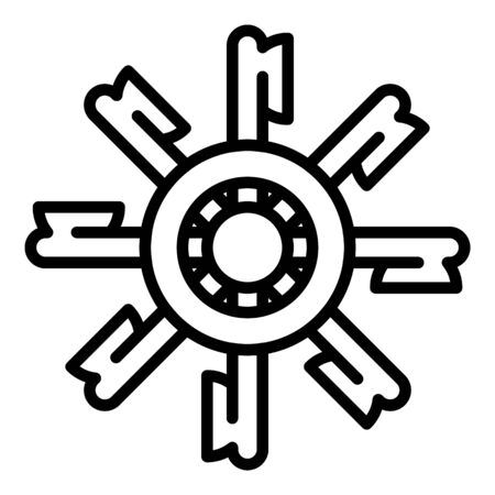 Water mill wheel icon, outline style 일러스트