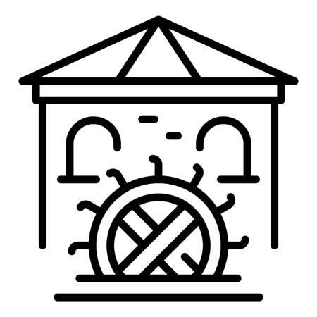 Bauernhof Wassermühle Symbol, Umrissstil