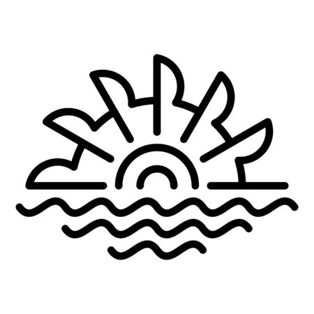 Wood water mill icon, outline style