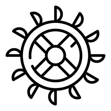 Turbine water mill wheel icon, outline style